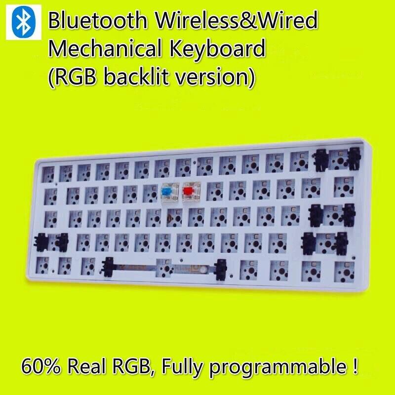 GK61S mini Portable 60% sans fil Bluetooth Gh60 GK61S Kit clavier mécanique bureau Kit RGB sans fil clavier