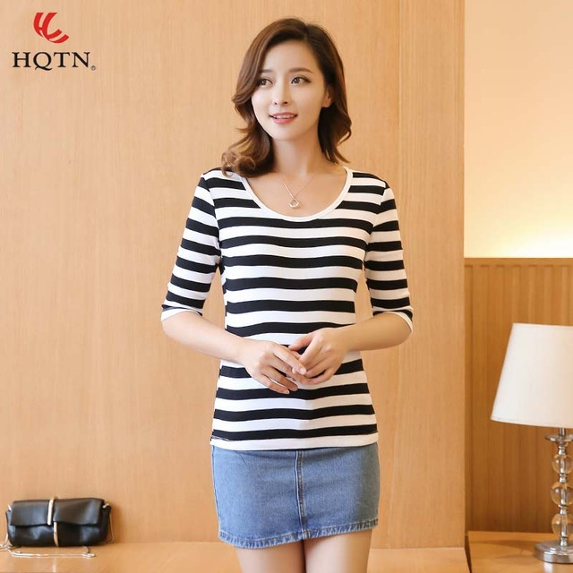 b96be9439f4984 HQTN 2018 Clothing Stripe Cotton Elbow-length Sleeve Top Tee Round Collar  Fitness Women Tops Basic Casual T-shirt