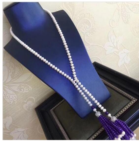 free shipping >noble jewelry jewelry new style 8 mm long white pearl necklace Christmas DIY women hot sale jewelry free shipping hot sale jewelry 3 rows oval white black pearl necklace
