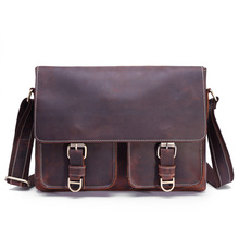 Mens first layer leather magazine postage bag Crazy Horse Leather retro computer fashion single shoulder 1058