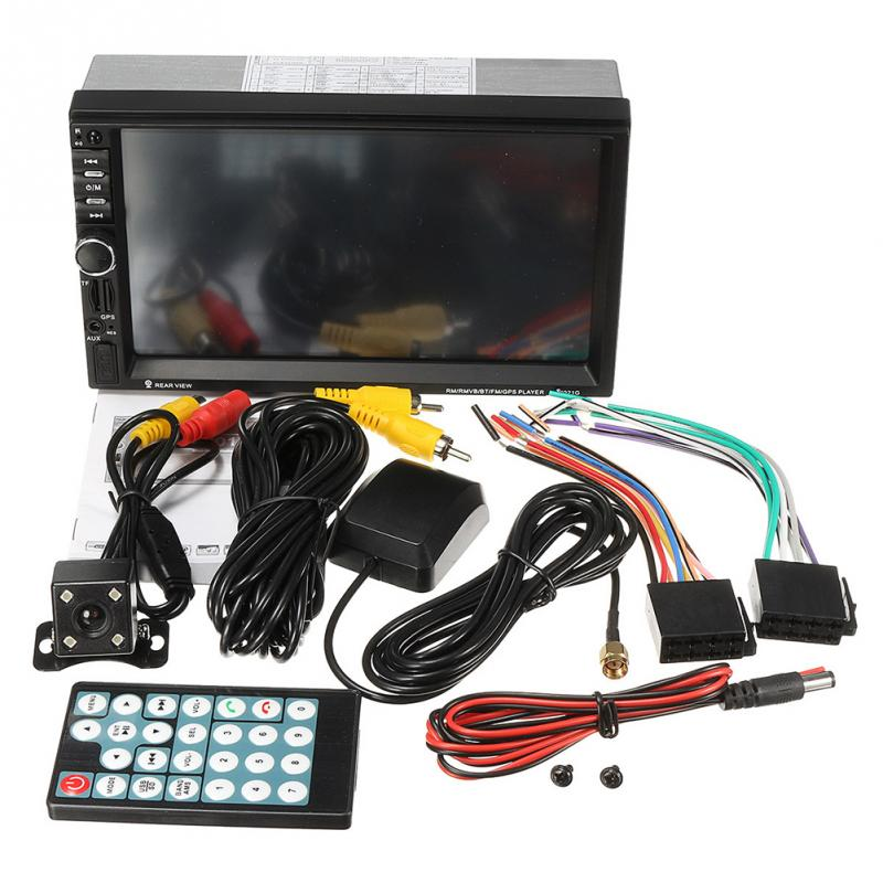 7inch Touch Screen GPS Navigation HD Double 2 DIN Car Stereo MP5 Player Bluetooth Radio In Dash+Cam