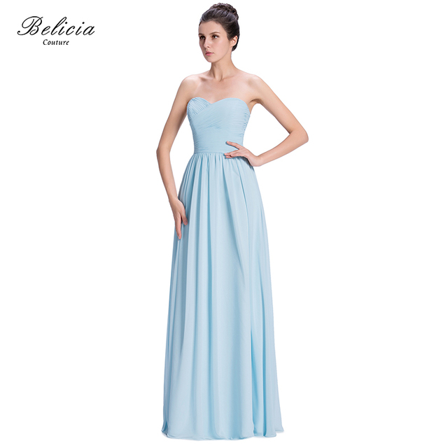 Belicia Couture Elegant Sweetheart Backless Wedding Bridesmaid Dress Floor- Length Pleated And Shirring flowing Long Chiffon 5e26e79bd0b3