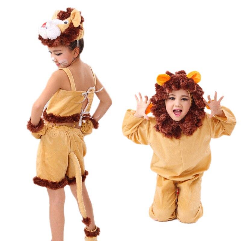 Çocuk Aslan Kostüm Çocuklar Hayvan Cadılar Bayramı Cosplay Kostümleri Fantezi Sihirbazı Oz Film Rolü Tulumlar