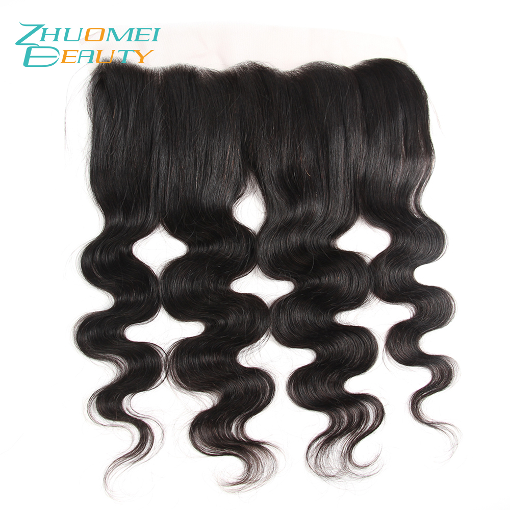 Zhuomei BEAUTY 13*4 Ear To Ear Closure With Baby Hair 10-20inch Brazilian Body Wave Remy Human Hair Lace Frontal Closure