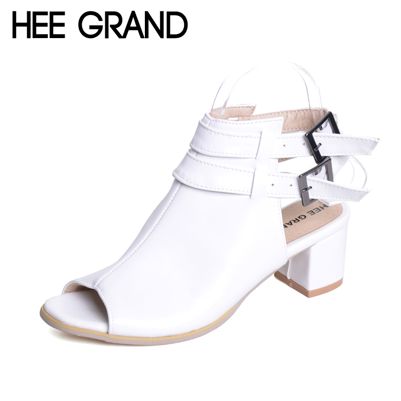 HEE GRAND Solid Platform Gladiator Sandals 2017 Summer High Heels Sexy Shoes Woman Fashion Pumps Peep Toe Women Shoes XWZ4361 2017 suede gladiator sandals platform wedges summer creepers casual buckle shoes woman sexy fashion beige high heels k13w