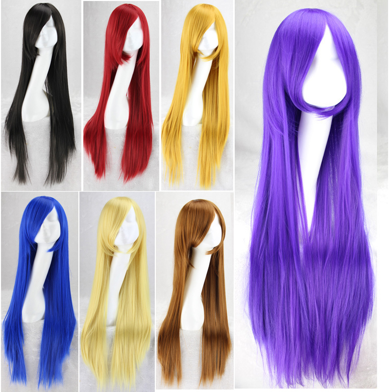 "32"" 80cm Women Cosplay Wig Long Straight Hair Heat Resistant Costume Party Synthetic Wigs For Halloween Peruca Peluca"
