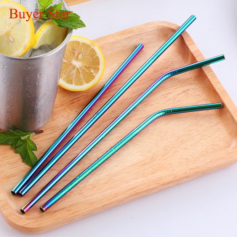 100pcs Stainless Steel Metal Drinking Reusable Rainbow Party Straws 10 cleaning brush Bar Accessories Party Cocktail