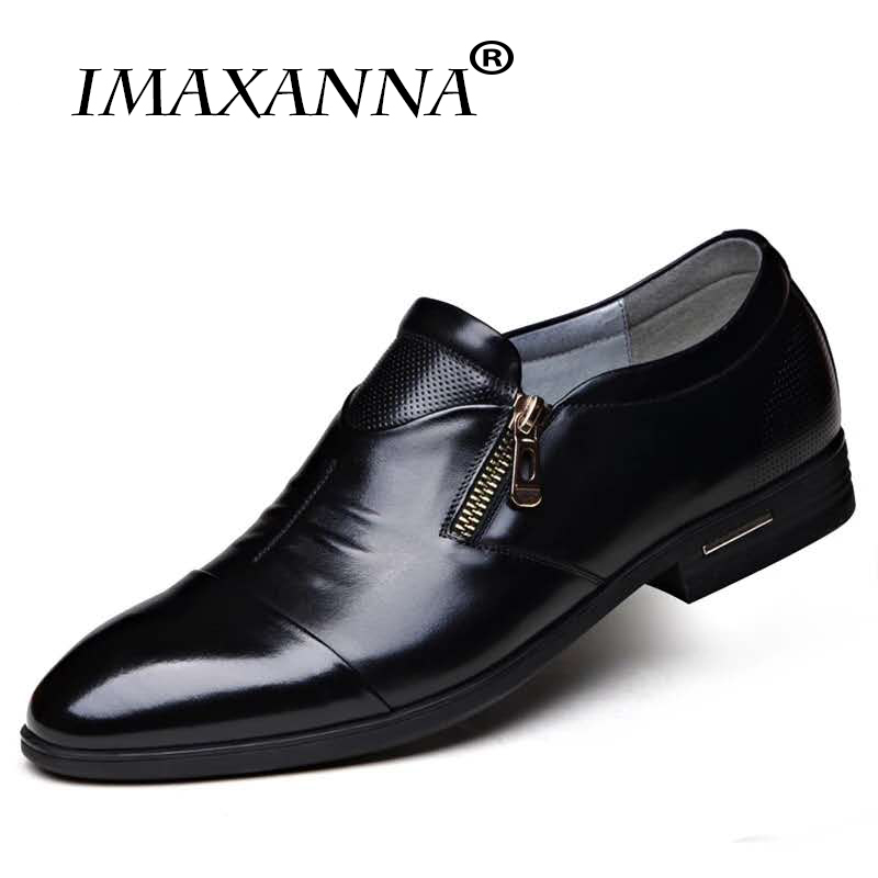 IMAXANNA Fashion Oxford Business Men Shoes Genuine Leather High Quality Soft Casual Breathable Men's Flats Zip Shoes Plus Size