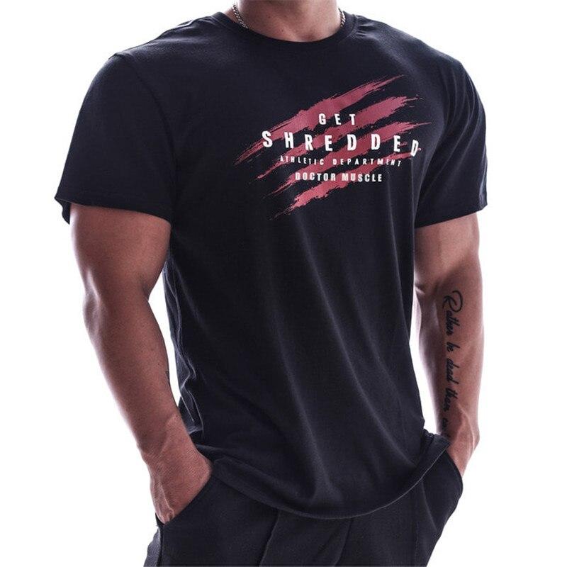 2019 summer Men T-shirt cotton Short sleeve t shirt gyms Fitness bodybuilding T-shirts New O-neck Brand Running Sports T-shirt