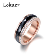Lokaer klasyczny ze stali tytanowej czarny ceramika pierścionki biżuteria złoty kolor cyrkonia ślubne pierścionki zaręczynowe dla kobiet Anneaux tanie tanio Tytanu Kobiety Ceramiczne Ślub Pave ustawianie Zespoły weselne Okrągły R180130466P R180130500G R180130500R Ceramics AAA Cubic Zirconia