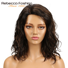 Rebecca Natural Wave Human Hair Lace Wigs For Black Women Peruvian Remy Hair Wet And Wavy L Part Lace Wig 14 Inch Free Shipping(China)