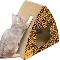 Pets Leopard Triangular Cat House Scratching Post Scratch Pad Summer Sofa Bed Cat Scratcher Play House for Cat Cardboard Condos