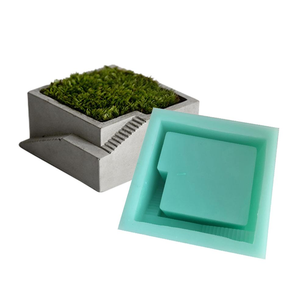 DIY Silicone Mold Concrete Square Round With Stairs 4 Styles Desktop Moss Bonsai Cement Flower Pot Mold Handmade Home Decoration