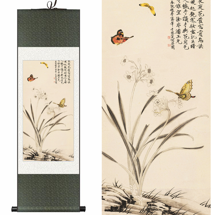 Chinese Silk watercolor flower and birds Narcissus daffodils butterfly ink art canvas wall picture damask framed scroll paintingChinese Silk watercolor flower and birds Narcissus daffodils butterfly ink art canvas wall picture damask framed scroll painting