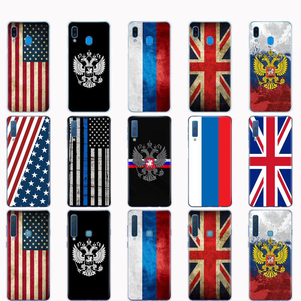 Case For <font><b>Samsung</b></font> A50 Case For Galaxy A50 A60 <font><b>A10</b></font> A30 A40 A70 A 50 2019 A9 A7 2018 Russian American British <font><b>flag</b></font> national emblem image