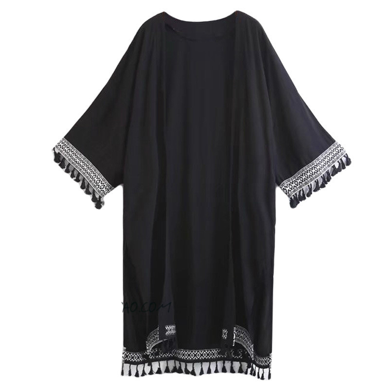Retro Black Hem Patchwork Tassel Kimono Shirt 2018 New Women's Beach Holiday V neck Fringed Shawl Sunscreen Blouse Tops