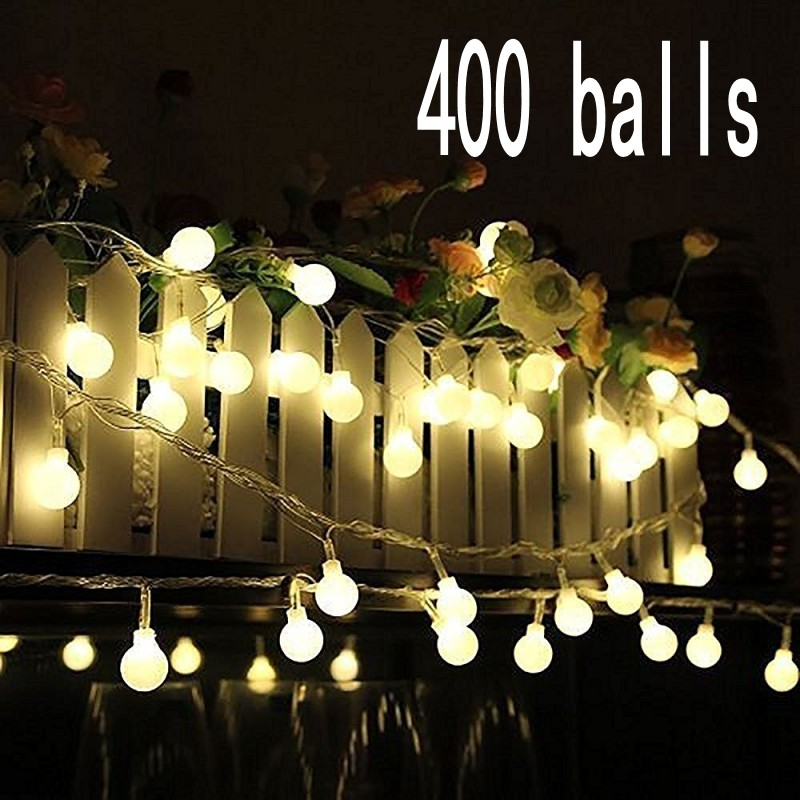 Outdoor Wedding Christmas LED bulb string light led rainbow light waterproof LED String 50M 400 led ball AC 220V
