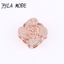 Fyla Mode 2017 New Hot Sale Pave Flower Gold Plated AAA Zircon Party Spacer Beads Charms For Vintage Women Men Bracelet DIY