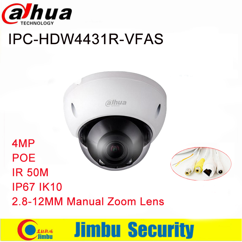 US $78 86 16% OFF|Dahua IP Camera IPC HDBW4431R VFAS 4MP POE Network Dome  H265 2 8 12mm Manual zoom lens IR 50m with Audio Interface CCTV Camera-in