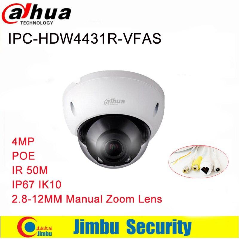 Dahua IP Camer IPC-HDBW4431R-VFAS 4MP Network Dome H265 2.8-12mm Manual zoom lens POE IR 50m with Audio Interface CCTV Camera
