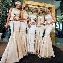 2016 Two Pieces Bridesmaid Dresses Scoop Lace Pleat Mermaid Satin Floor Length Vestido De Festa Robe