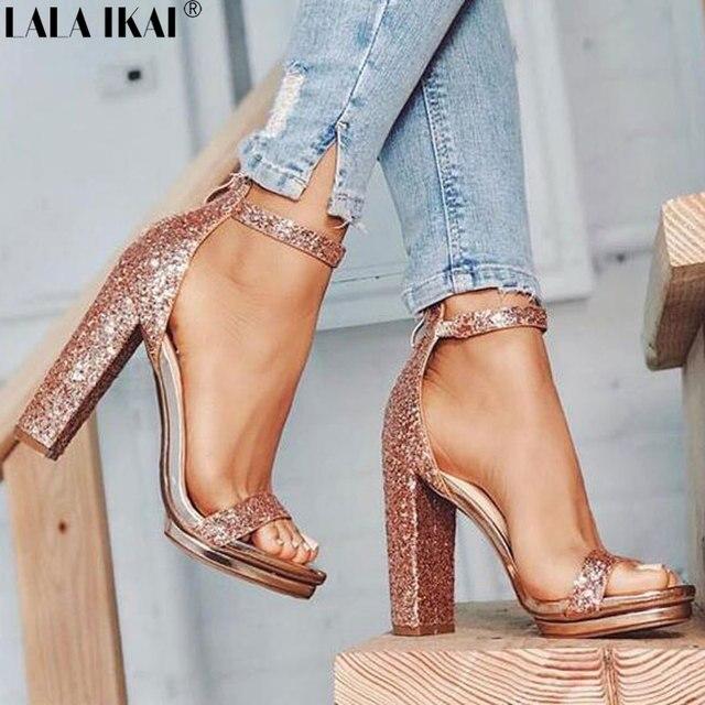 LALA IKAI женские босоножки летние туфли на высоком каблуке сандалии  сексуальный Гладиатор вечерние блестками дамы dc02ba4cc6f