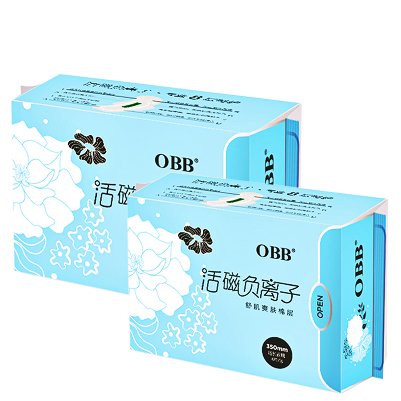 2 Packs OBB Anion Sanitary Napkins Paper Pads Sanitary Towels 6 Pads/Pack Cotton Disposable Leakproof 350mm Overnight Use Women