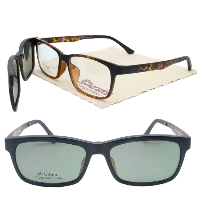 629d4abb0f ultra light 006 ULTEM square shape optical glasses frame with magnetic clip  on polarized sunglasses lenses handy 2 in 1 eyewear