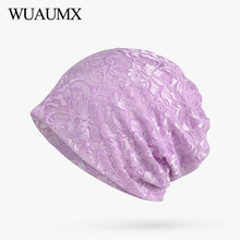 Wuaumx Spring Summer Womens Beanies Hats Purple Multifunction Turban Lace Hollow Print Hedging Cap Solid Skullies