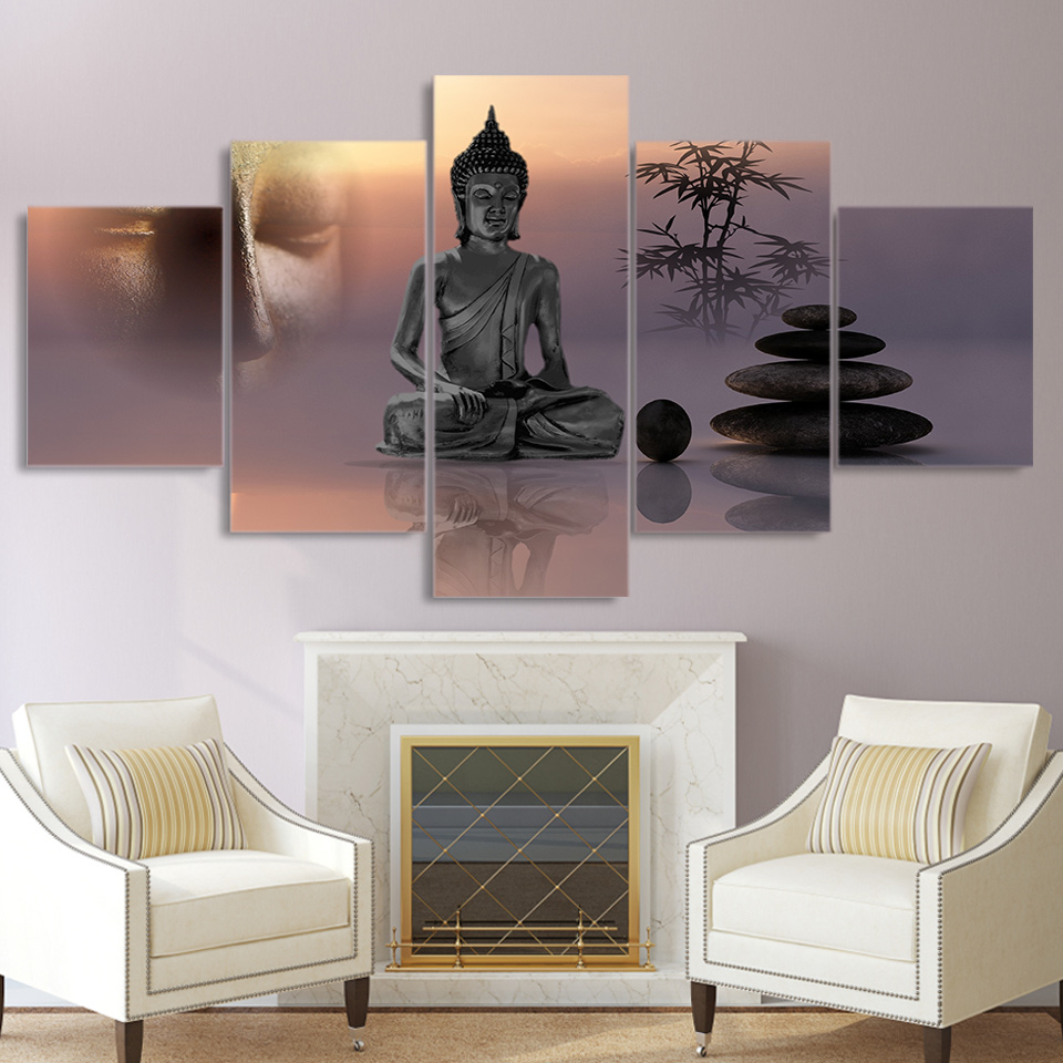 Modern HD Printed Pictures Canvas Painting 5 Panel Zen Buddha Statue Wall Art Home Decoration Framework Poster For Living Room