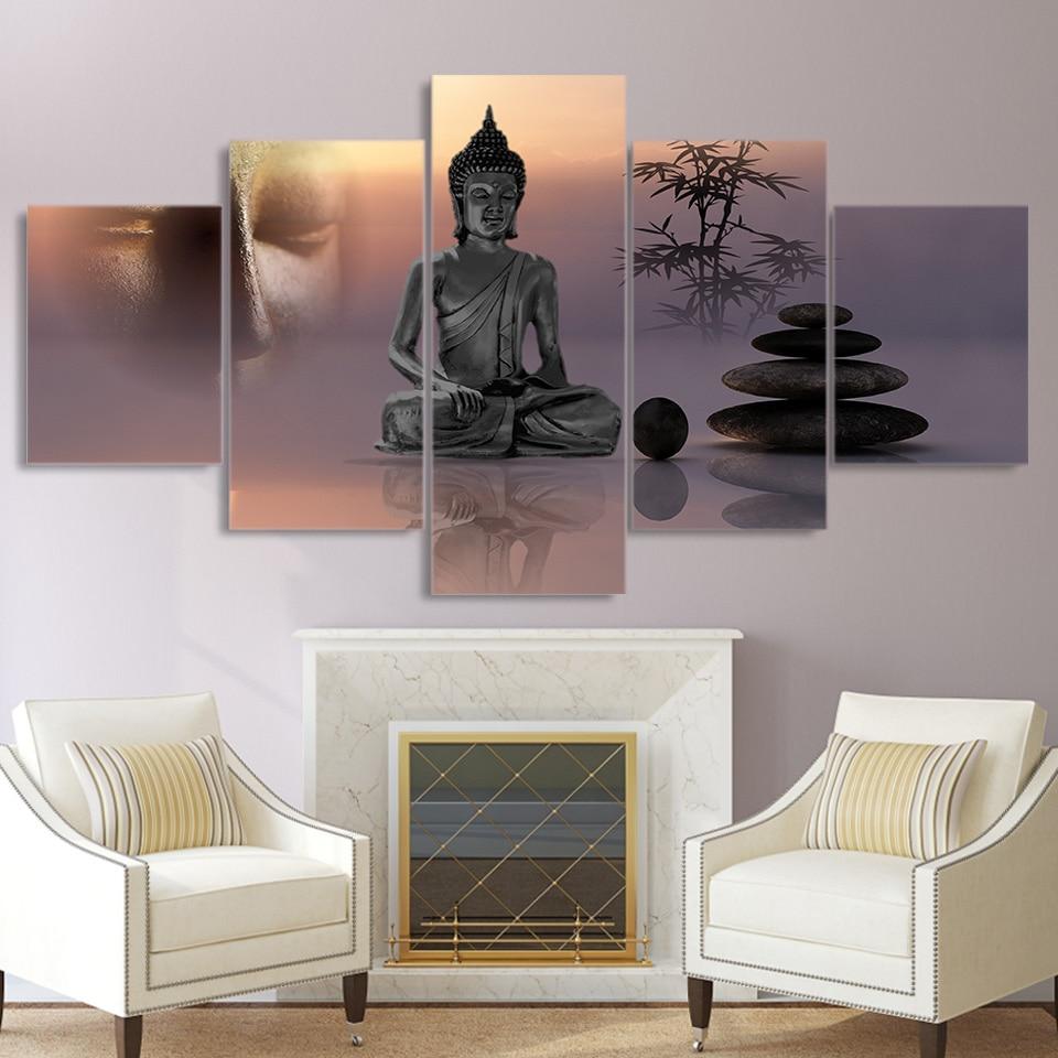 Современная Картина на холсте с HD принтом, 5 панелей, статуя Будды, настенное художественное украшение для дома, каркас, постер для гостиной
