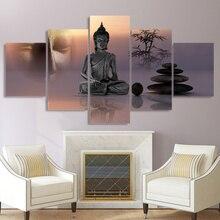 Современные HD печатные картины на холсте, 5 панелей, статуя Дзен Будды, настенное искусство, украшение для дома, каркасный плакат для гостино...