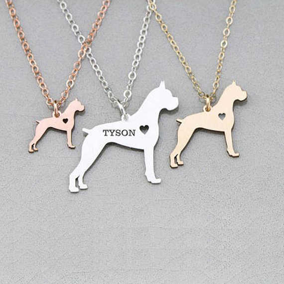 2018 Last Women Pet  Jewelry Boxer Dog Charm Necklace Any Words Can Be Customed Drop Shipping Accepted YP6368