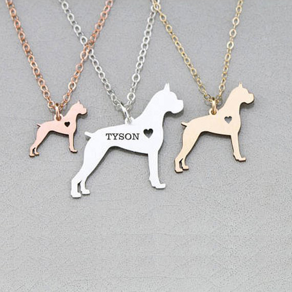 2018 Last Women Pet Jewelry Boxer Dog Charm Necklace Any Words Can Be Customed Drop Shipping Accepted YP6368 image