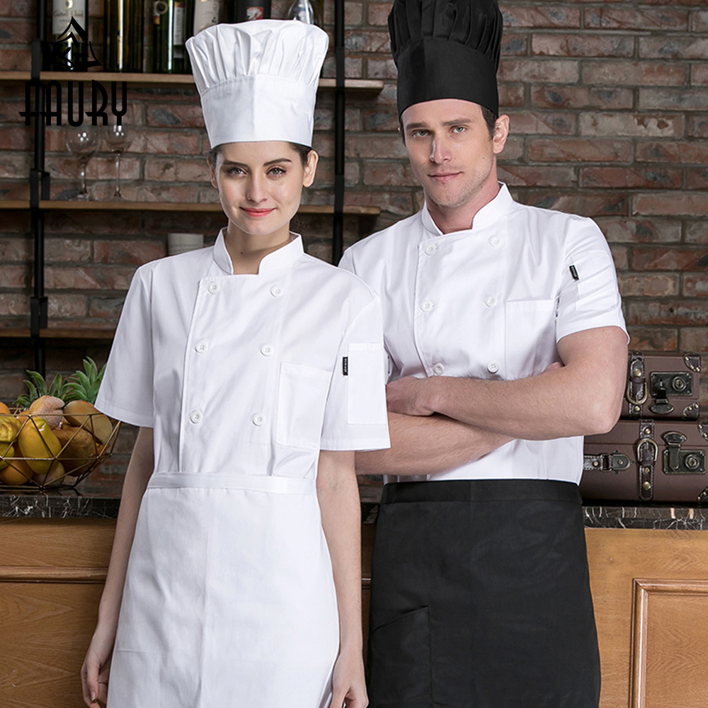 Pure Color Short Sleeve Cotton Breathable Chef Working Jackets Catering Restaurant Cozinha Sushi Coat Kitchen Cooking Uniforms