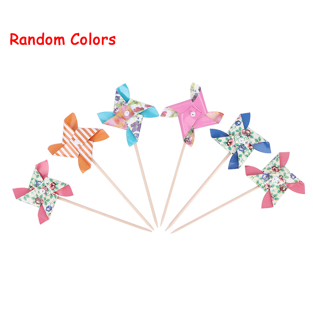 24 Pcs Paper Windmill Toy Spinner Pinwheel Whirl Flower Windmill Toy Yard Decor Outdoor Toy Color Random