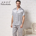 Falaishuka Brand 100% Silk Men Pajamas 2017 New Short-Sleeve Male Pyjama Sets Casual Geometric Turn-Down Collar Sleepwear S8803