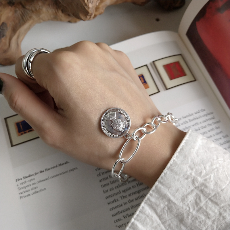 LouLeur 925 sterling silver Empress coin crude chain bracelets silver round card temperament design bracelets for