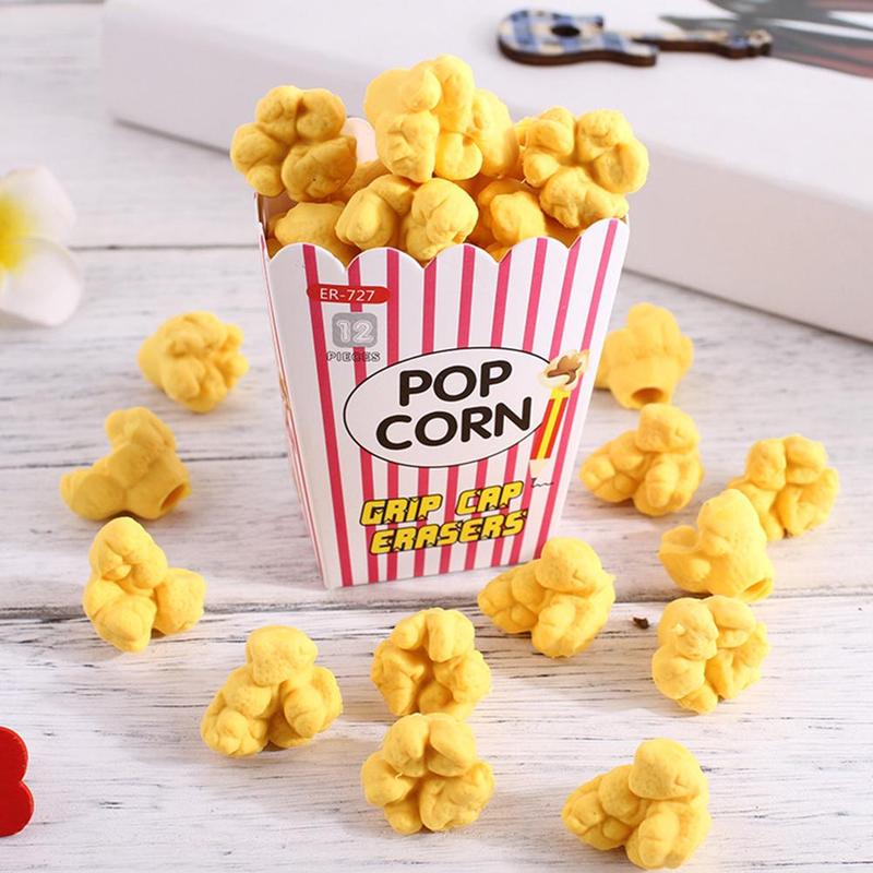 Kawaii Creative Popcorn Eraser Cute Children Stationery School Supplies Rubber Eraser Correction Supplies Kids Girl Toy Gift
