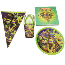 Decoration Birthday Party Flags Ninja Turtles Theme Napkins Banner Happy Baby Shower Plates Flag Kids Favors Glass Cups 80pc/lot