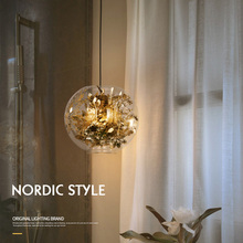 Nordic Modern Design 3D Gold ball LED Glass Ceiling Pendant Hanging Light Lamp for living room Loft Kitchen Loft Dining Room Bar lukloy nordic gold ball modern pendant ceiling lamps loft for the kitchen led pendant lights hanglamp hanging light fixture