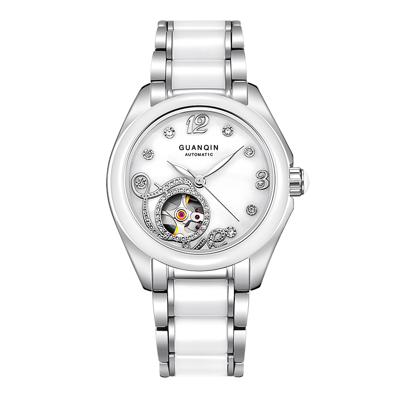 GUANQIN GJ16038 Top Brand New Watch Women skeleton Mechanical Watches With Ceramic Band And Rhinestone Case relogio feminino unique smooth case pocket watch mechanical automatic watches with pendant chain necklace men women gift relogio de bolso