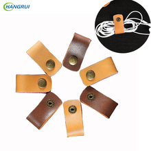 HANGRUI 3pcs Leather-based Earphone cable clamp Artistic Knowledge Wire Winder Cable ties Cable Button Earphones Equipment For cellphone line