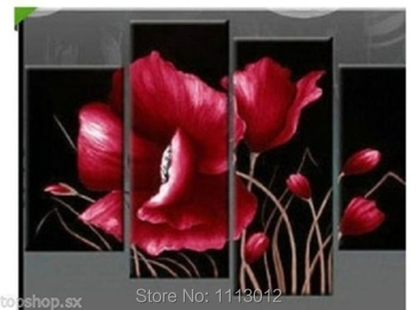 High Quality Red Camellia Flower Oil Painting On Canvas 4Pcs Art Sest Abstract Home Decoration Modern Wall For Living Room Sale