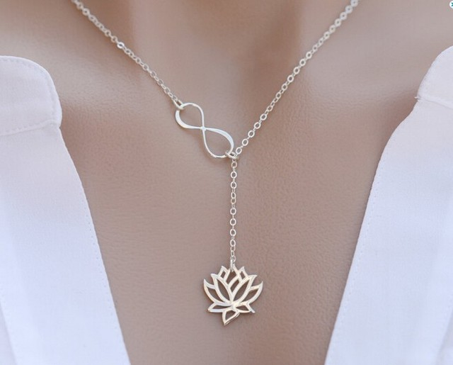 10pcs/lot  Infinity Lotus Lariat Necklace Figure Eight Lotus Flower Necklace XL043
