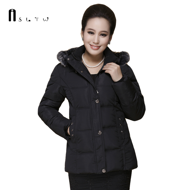 XL-5XL Women's Winter Coat Plus Size Middle-aged Women Cotton Padded Casual Hooded Solid Long Sleeve Parka Coats J295