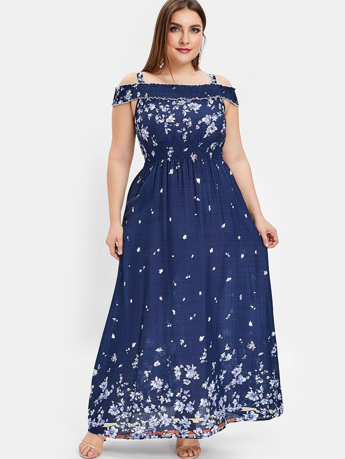US $15.12 48% OFF|Wipalo Plus Size Floral Print Cold Shoulder Maxi Dress  Women High Waist Dresses Bohemian Robe Femme Short Sleeve Vestidos Mujer-in  ...