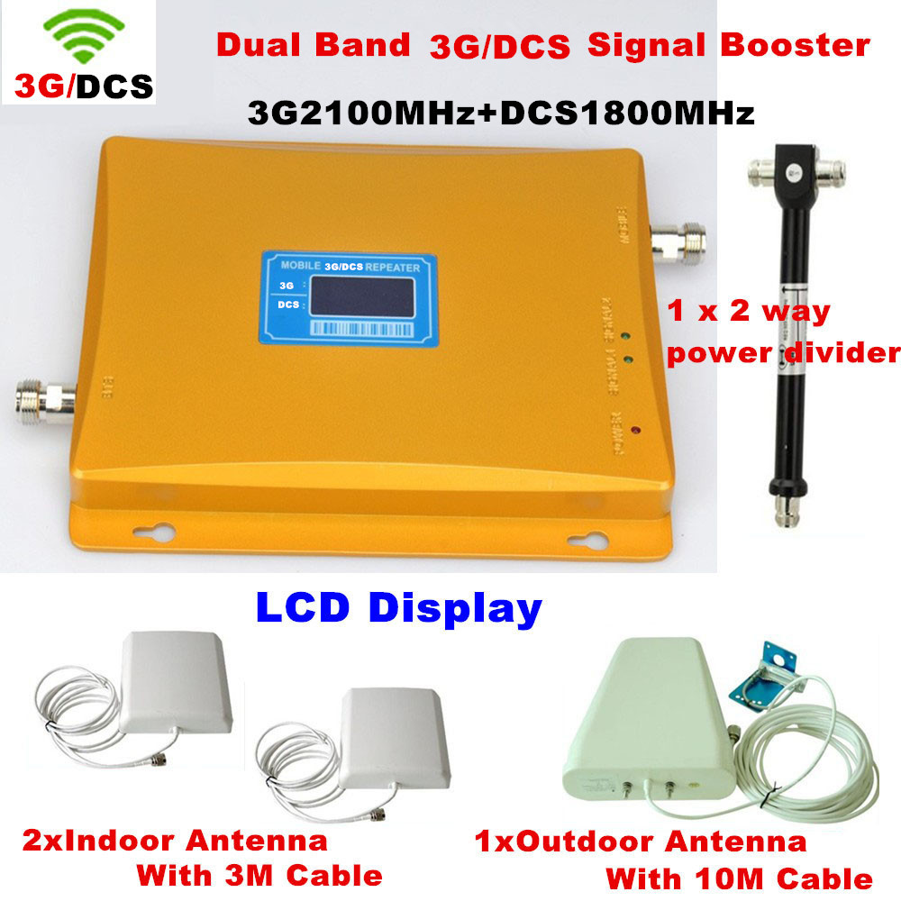 Full Sets!3G/DCS Cell Phone Signal Repeater Amplifier With Dual Band 1800 & 3G 2100MHz + 2 Pcs Indoor Antenna + Outdoor Antenna