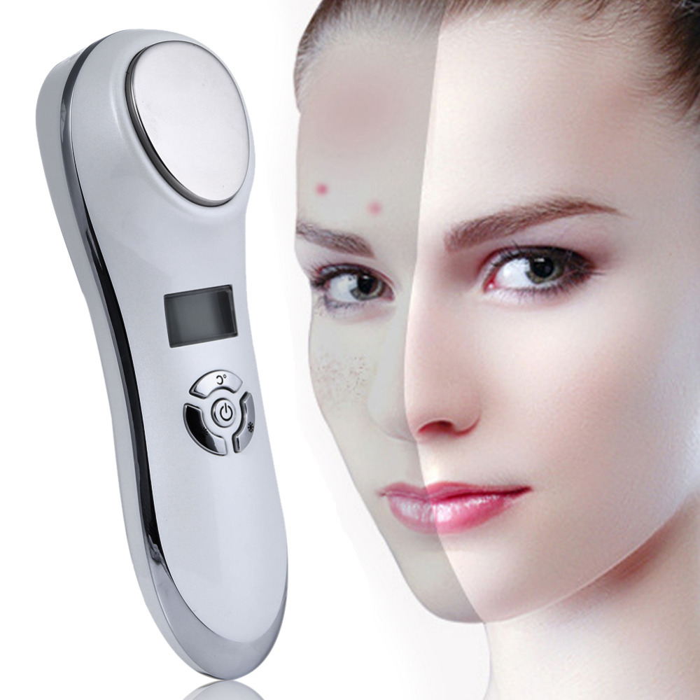 Portable Ultrasonic Hot Cold Therapy Sonic Vibrating Facial Skin Care Essence Ion Introduction Beauty Instrument Face Rejuvenate