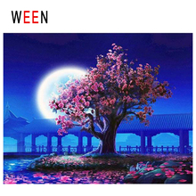 WEEN Moon Garden Diy Painting By Numbers Abstract Flower Tree Oil On Canvas Night Cuadros Decoracion Acrylic Wall Art